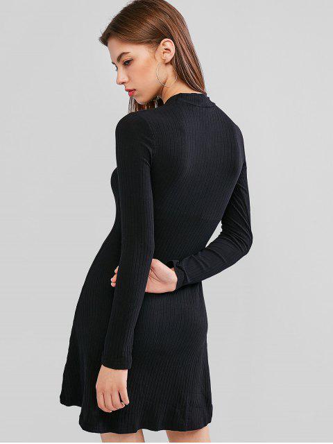 Mini Robe Ligne A Côtelée en Couleur Unie - Noir M Mobile