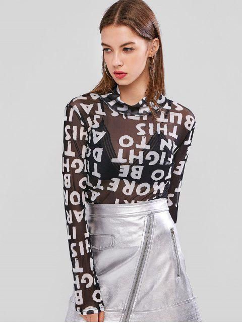 trendy Mesh Letter Graphic High Neck Sheer Tee - BLACK ONE SIZE Mobile