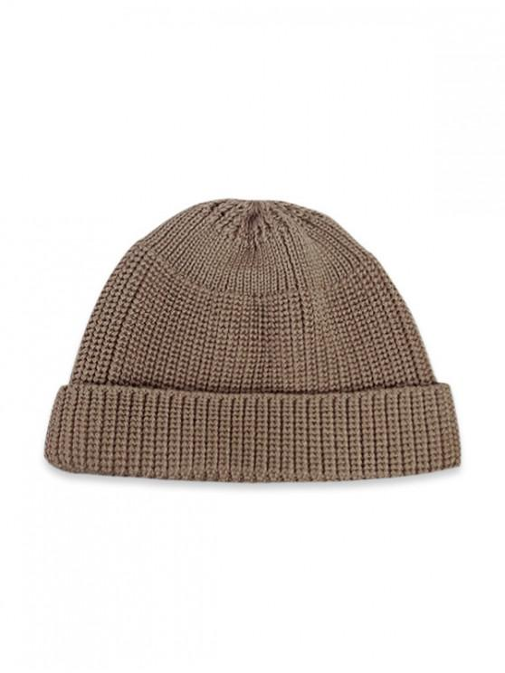 Casual Soft Top Knitted Weaving Winter Soft Hat - Caqui Claro