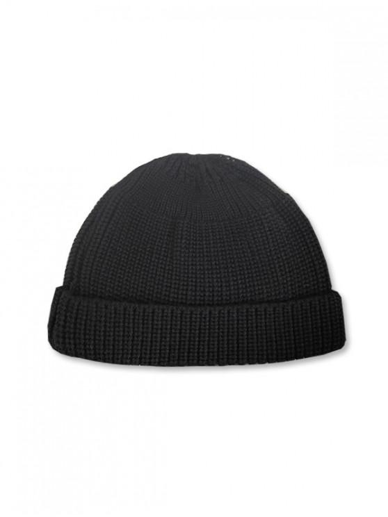 shops Casual Round Top Knitted Weaving Winter Soft Hat - BLACK
