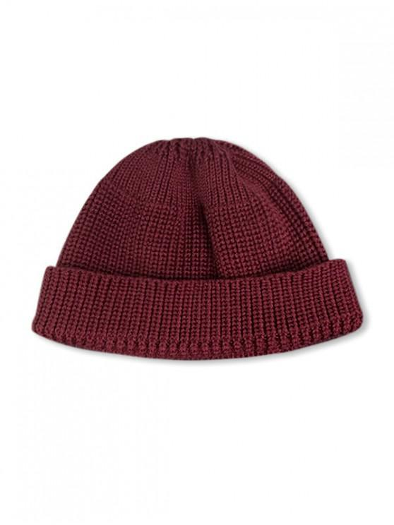 women Casual Round Top Knitted Weaving Winter Soft Hat - RED WINE