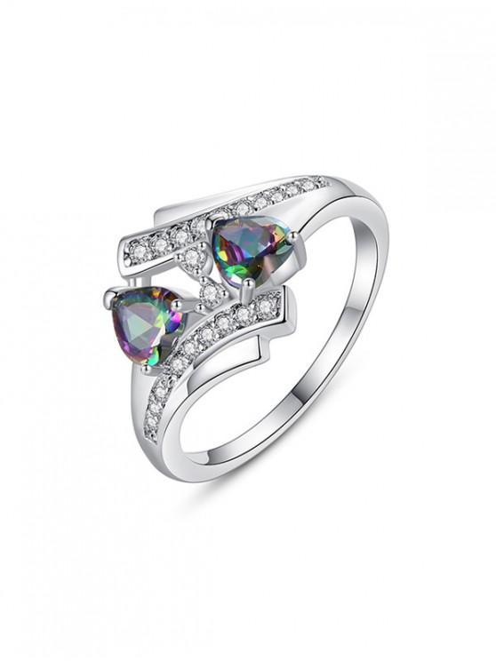 trendy Double Heart Design Zircon Ring - SILVER US 8