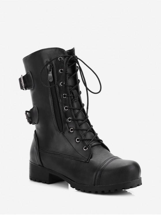 復古側拉鍊扣裝飾靴 - 黑色 歐盟35