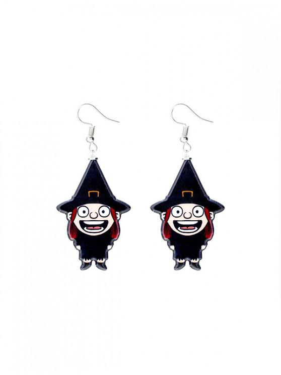 affordable Halloween Cartoon Witch Drop Earrings - BLACK