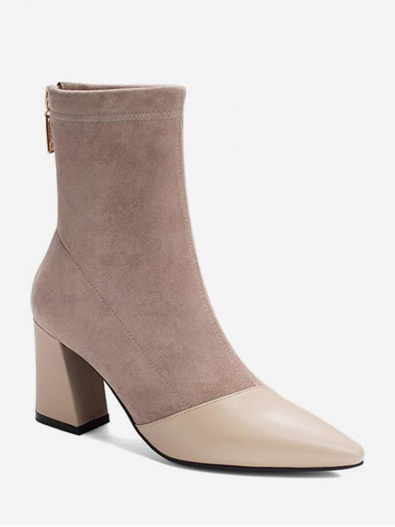 outfits Leather Trim Suede High Heel Boots - APRICOT EU 38