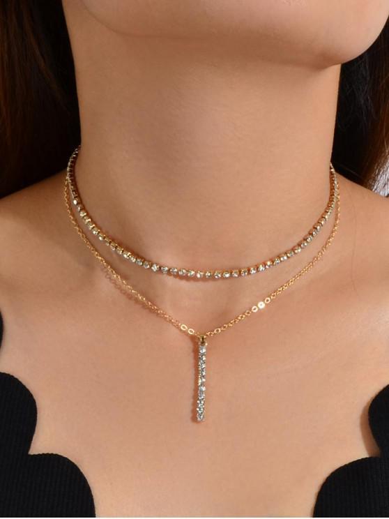 Collar de barra de diamantes de imitación de doble capa - Oro