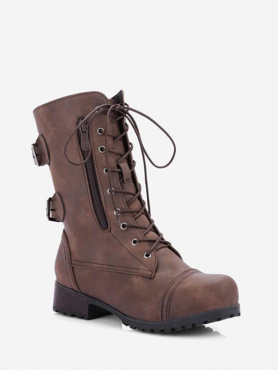 รองเท้าบู๊ทตกแต่งหัวเข็มขัดซิปด้านข้างย้อนยุค - สีน้ำตาลเข้ม EU 39