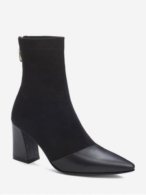 Botas de tacón alto de ante con ribete de cuero - Negro EU 38
