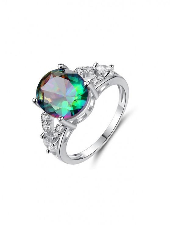 chic Platinum Colorful Zircon Egg Shape Ring - SILVER US 6