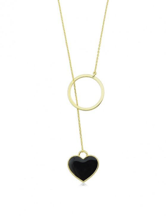 outfit Brief Alloy Heart Lariat Necklace - BLACK