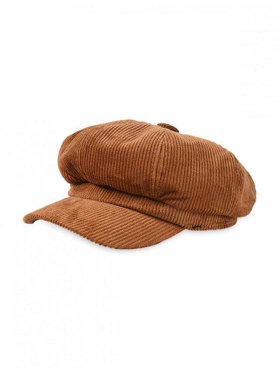 fashion Corduroy Octagonal Winter Vintage Peaked Hat - BROWN