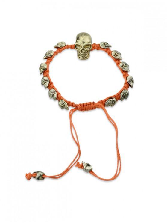 women Adjustable Rope Skull Bracelet - DARK ORANGE