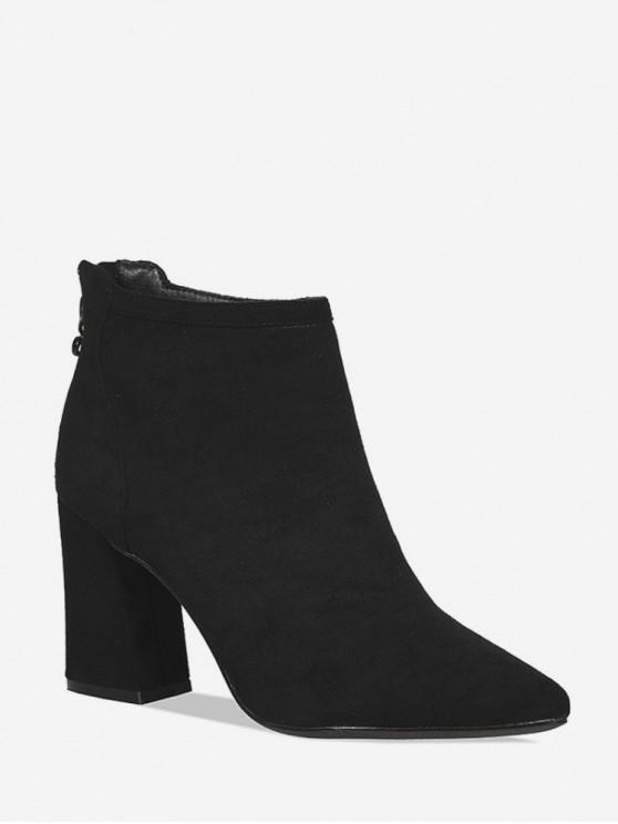 絨面革尖頭高跟鞋實心靴 - 黑色 歐盟38