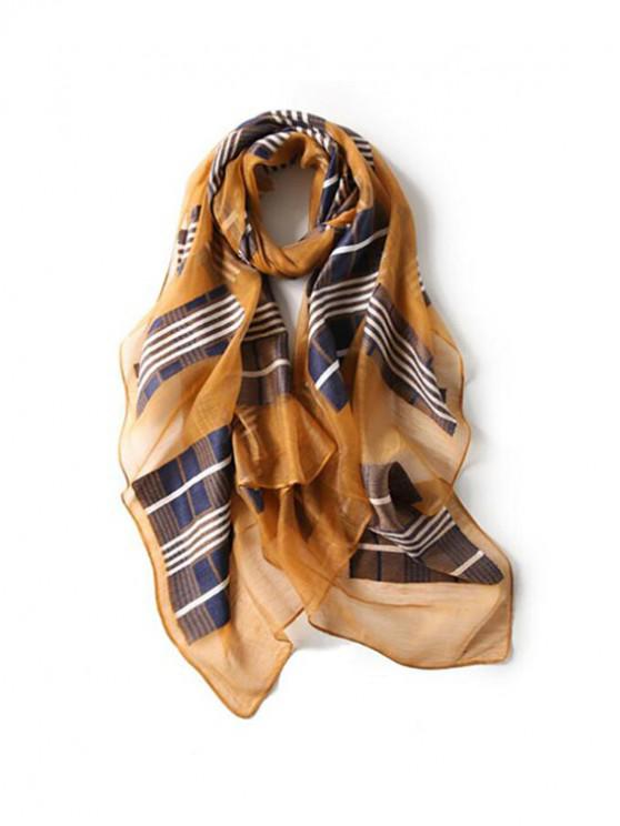 women Plaid Print Beach Long Scarf - YELLOW