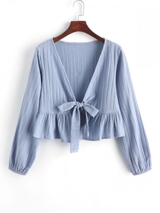 online Ruffle Hem Knotted V Neck Crop Blouse - PASTEL BLUE S