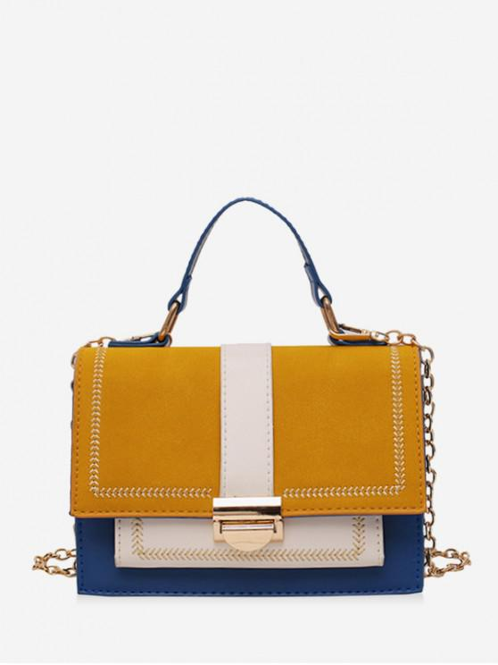 trendy PU Contrasting Colors Square Shoulder Bag - BLUE
