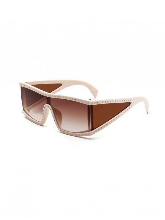 Gafas de sol cuadradas de gran tamaño con remaches de una pieza - Marrón Claro