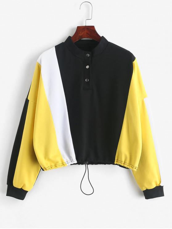 outfits ZAFUL Snap Button Colorblock Drop Shoulder Sweatshirt - MULTI-A L