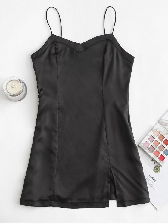 ladies Satin Front Slit Mini Slip Dress - BLACK L