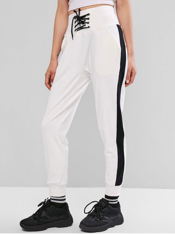 shop Lace Up Stripe Trim Jogger Pants - WHITE M