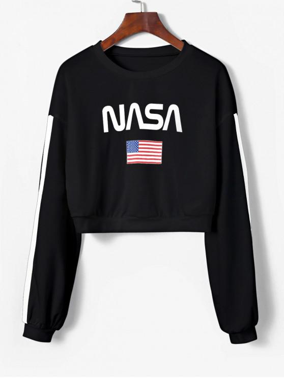 best ZAFUL American Flag Tape Sleeve Drop Shoulder Sweatshirt - BLACK M