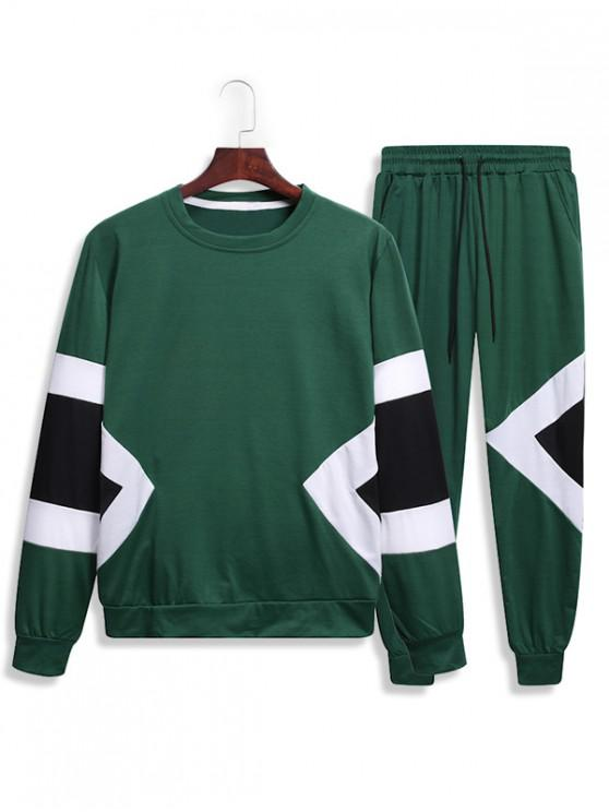 fancy Splicing Geometric Two Piece Gym Outfits - GREEN 2XL