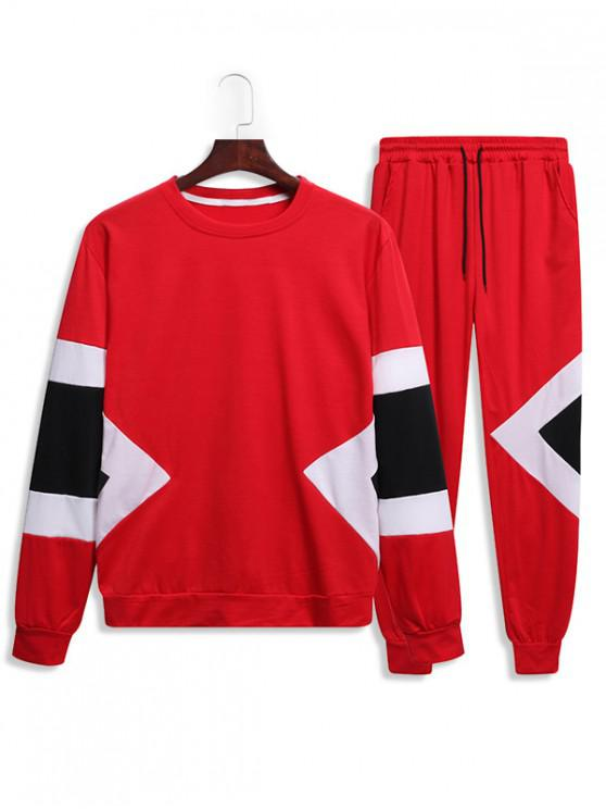 buy Splicing Geometric Two Piece Gym Outfits - RED 2XL