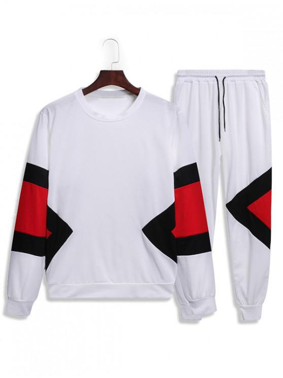 lady Splicing Geometric Two Piece Gym Outfits - WHITE M