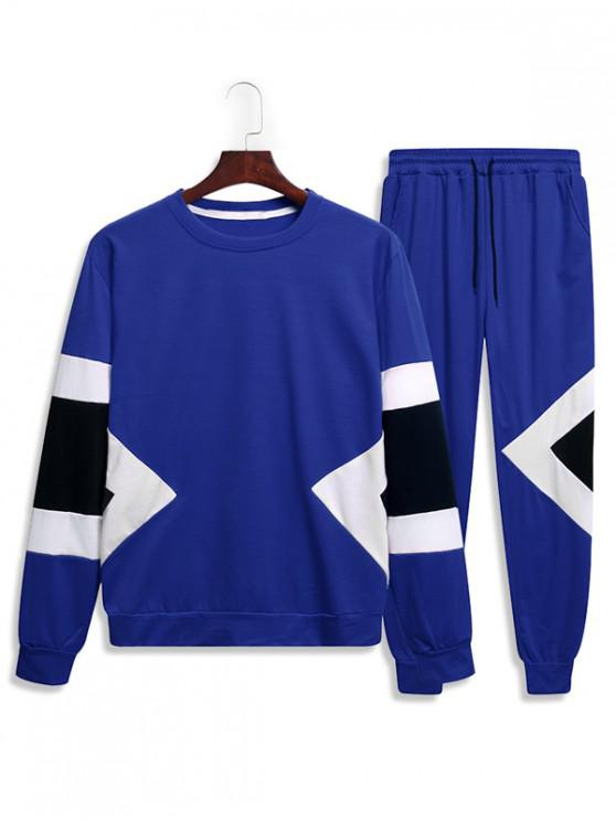 shop Splicing Geometric Two Piece Gym Outfits - BLUE 2XL