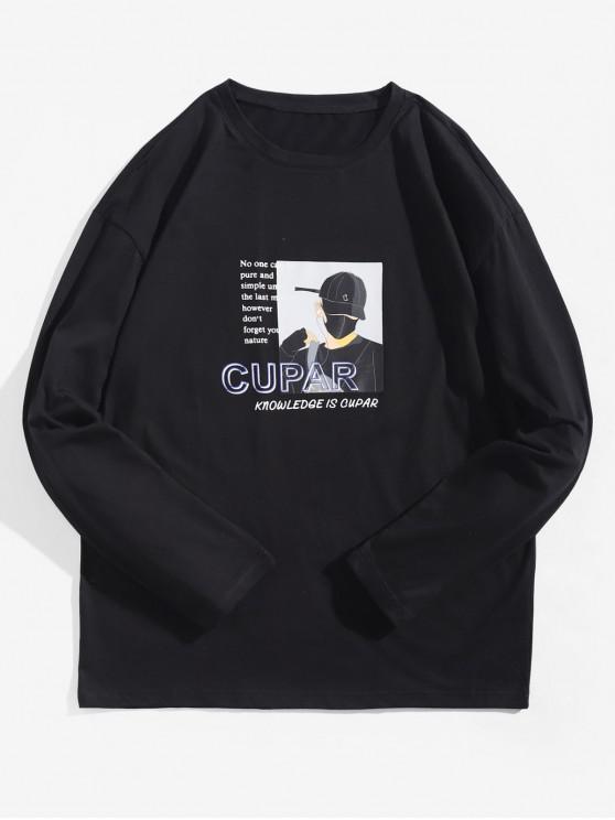 T-shirt Lettre Graphique Imprimée Caractère Dessin Animé à Manches Longues - Noir L