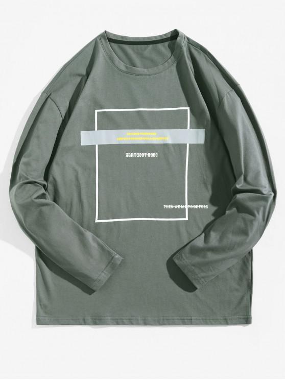chic Geometric Graphic Long Sleeve Contrast Tee - BATTLESHIP GRAY XL