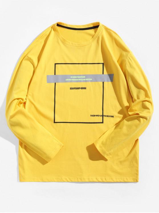 Геометрический принт Футболка С длинными рукавами Контрастные цветы - Солнце-желтый XL