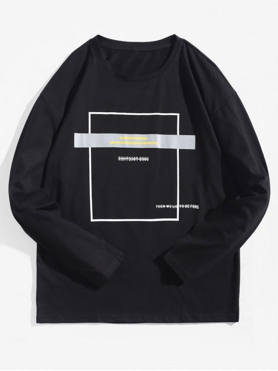 Camiseta con contraste de manga larga con estampado geométrico - Negro XL
