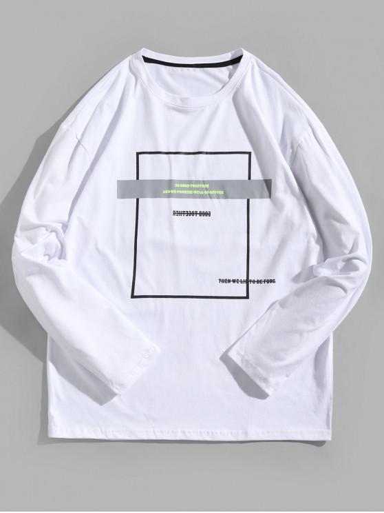 womens Geometric Graphic Long Sleeve Contrast Tee - WHITE XL