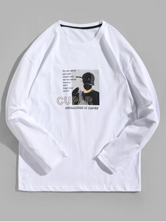 best Cartoon Character Letter Graphic Print Long Sleeve Tee - WHITE XL