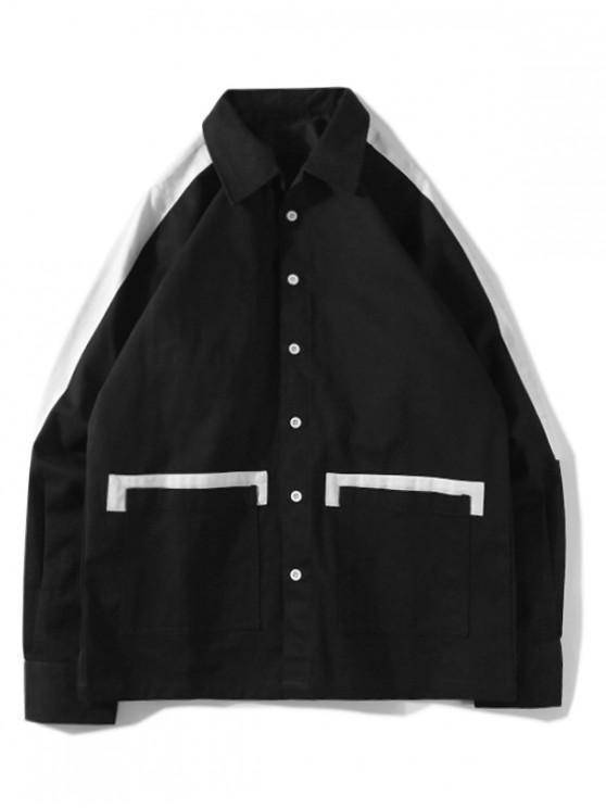 Цветной блок Карман Рукав реглан Пуговицы Куртка - Чёрный L