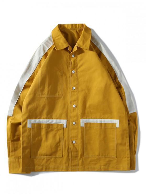 online Colorblock Splicing Pocket Raglan Sleeve Button Jacket - GOLDEN BROWN 2XL