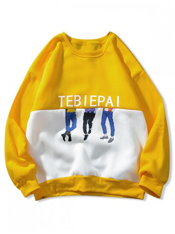 outfit Letter Cartoon Character Two Tone Panel Spliced Fleece Sweatshirt - RUBBER DUCKY YELLOW XL