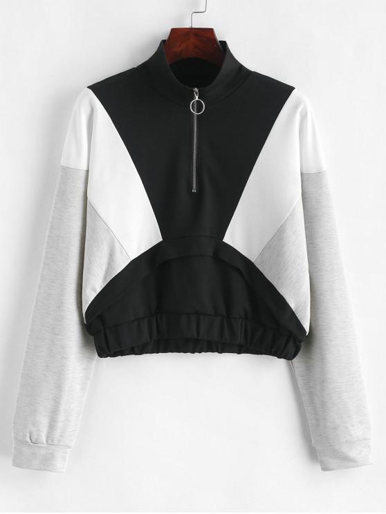 ZAFUL Sweat-shirt à Demi-zip en Blocs de Couleurs - Multi-A S