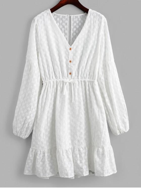 Robe Brodée Ouverte au Dos à Manches Lanternes - Blanc S