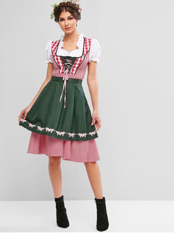 Kariertes, herzförmiges, besticktes Oktoberfest-Kleid - Multi-A XL