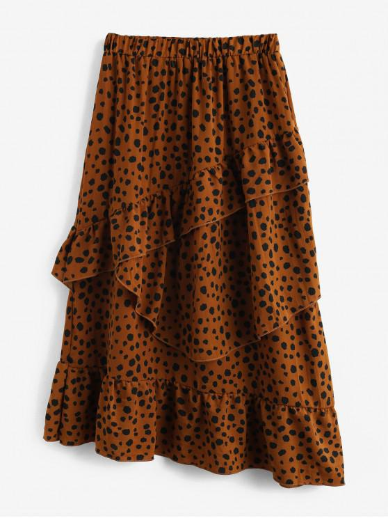 fancy Layered Flounce Leopard High Waisted Midi Skirt - TAN S