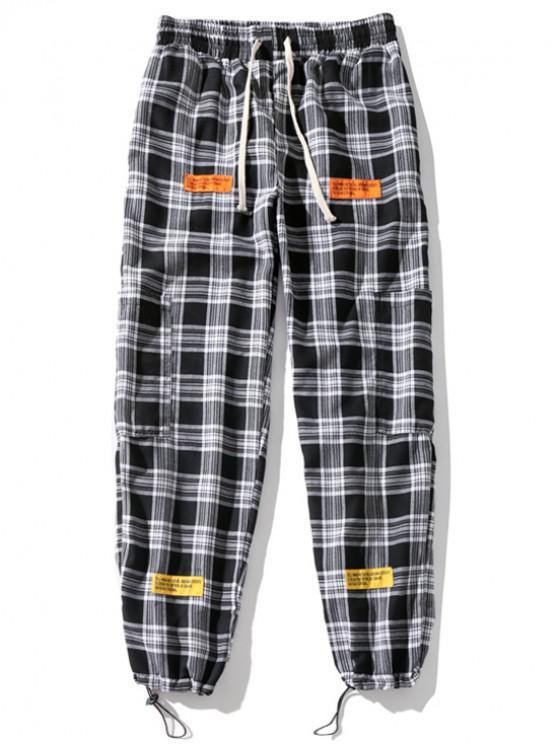 Pantalones de chándal con cordón deportivo y apliques de cuadros escoceses - Negro 2XL