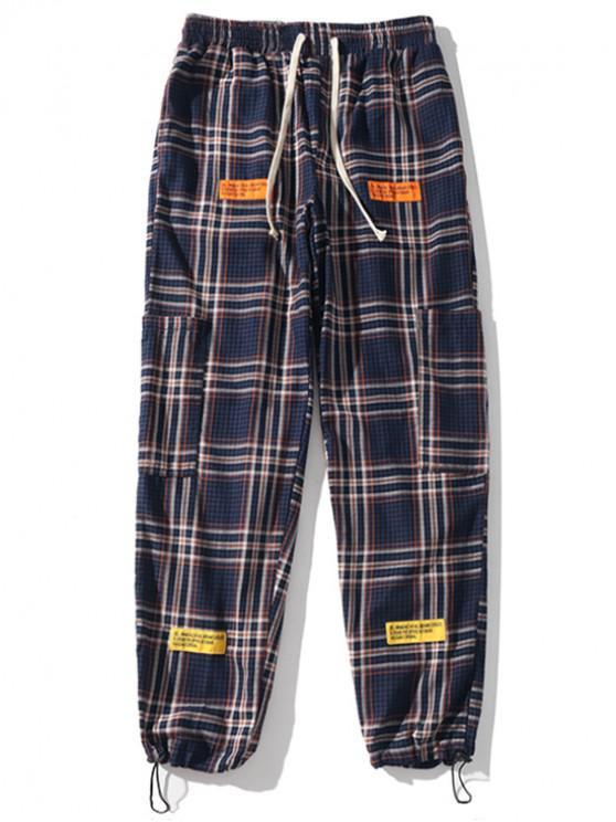 women Plaid Print Applique Sport Drawstring Jogger Pants - DEEP BLUE 2XL
