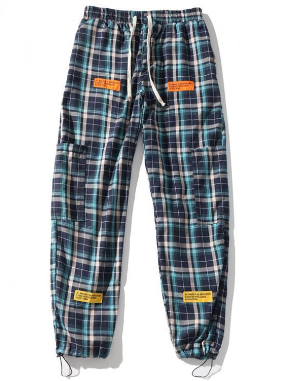 best Plaid Print Applique Sport Drawstring Jogger Pants - CELESTE 2XL