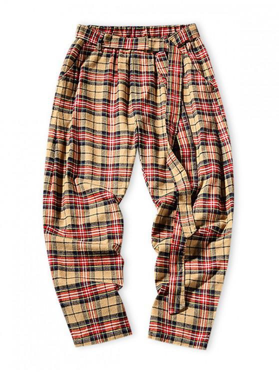 Pantalones casuales de cintura elástica con estampado de cuadros - Amarillo Brillante M