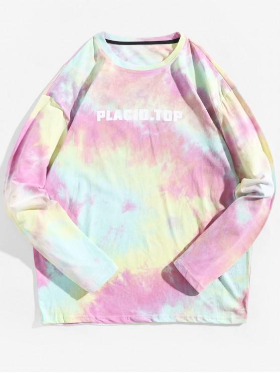 fancy Tie Dye Letter Graphic Print Long Sleeve T-shirt - MULTI L