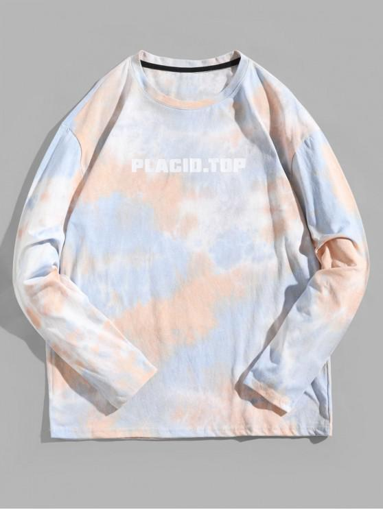 sale Tie Dye Letter Graphic Print Long Sleeve T-shirt - MULTI-A XS