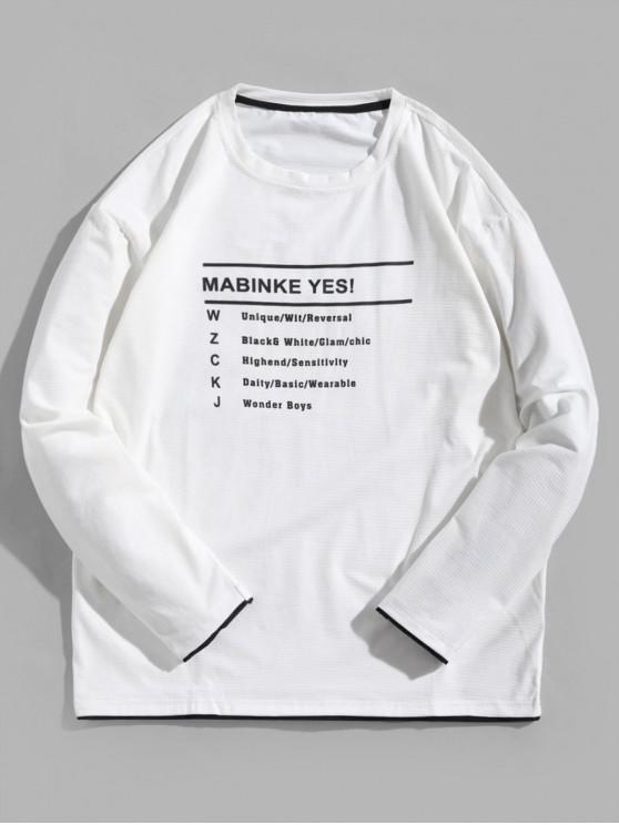 T-shirt Lettre Graphique à Ourlet Contrasté à Manches Longues - Blanc M