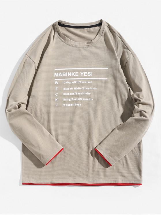 sale Letter Graphic Contrast Trim Long Sleeve T-shirt - LIGHT KHAKI M